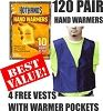 Winter Warmer Bundle  - (120 Pair) HotHands Hand Warmers Plus 4 Free Vests With Warmer Pockets