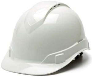 Ridgeline Standard Brim VENTED Hard Hats - With 4 Point Ratchet Suspension