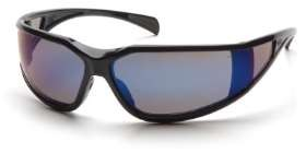 12 Pack Exeter - Glossy Black Frame Blue Mirror Anti-Fog Lens