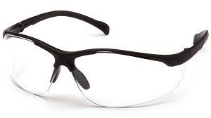 12 Pack Gravex Safety Glasses - Clear Anti-Fog Lens Black