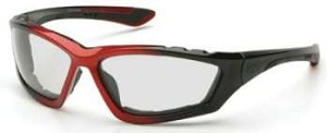 12 Pack Accurist Safety Glasses - Clear Lens Black/Red Frame