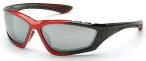 12 Pack Accurist Safety Glasses - Silver Mirror Lens Black/Red Frame