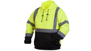 Pyramex Class 2 Hi-Viz Hooded Pull-Over Black Bottom Sweat Shirt