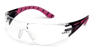12 Pack - Endeavor Plus Clear Lens Black and Pink Temples