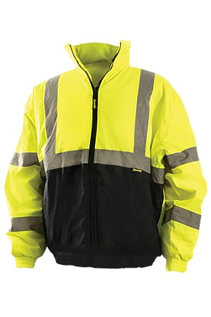 Blow-Out OccuLux ANSI Class 3 Hi-Viz Black Bottom Bomber Jacket - Limited Supply